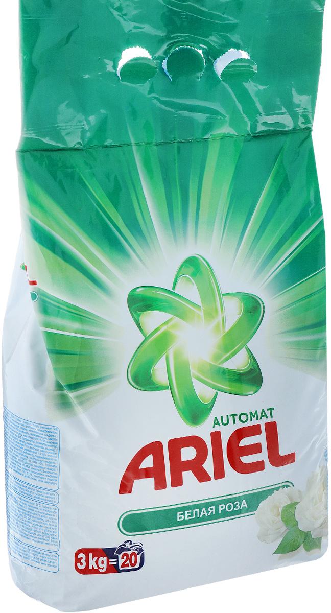 Стиральный порошок Ariel, автомат, белая роза, 3 кгAS-81489276Стиральный порошок Ariel предназначен для стирки в стиральных машинах любого типа. Он эффективно отстирывает различные пятна. В состав порошка входят специальные полимеры, которые отбеливают и сохраняют белизну вещей надолго. Стиральный порошок отлично отстирывает даже в холодной воде. Потому что содержит специальные энзимы, которые начинают работать уже при низких температурах. Порошок содержит компоненты, помогающие защитить стиральную машину от накипи и известкового налета. Состав: 5-15% анионные ПАВ, отбеливающие вещества на основе кислорода, <5% неионогенные ПАВ, фосфонаты, поликарбоксилаты, цеолиты, энзимы, оптические отбеливатели, ароматизирующие добавки, гексилкоричный альдегид.
