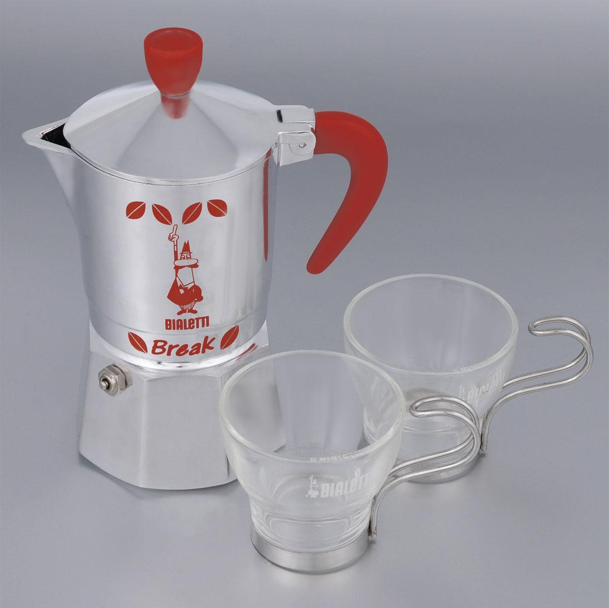Набор посуды Bialetti Break and Marocchino, 3 предмета5160Набор посуды Bialetti Break and Marocchino включает в себя гейзерную кофеварку и 2 кофейные чашки. Компактная гейзерная кофеварка изготовлена из высококачественного алюминия. Объема кофе хватает на 3 чашки. Изделие оснащено удобной ручкой из нейлона и клапаном давления. Кружки выполнены из высококачественного стекла и оснащены металлическими ручками. Принцип работы такой гейзерной кофеварки - кофе заваривается путем многократного прохождения горячей воды или пара через слой молотого кофе. Удобство кофеварки в том, что вся кофейная гуща остается во внутренней емкости. Гейзерные кофеварки пользуются большой популярностью благодаря изысканному аромату. Кофе получается крепкий и насыщенный. Теперь и дома вы сможете насладиться великолепным эспрессо. Подходит для газовых, электрических и стеклокерамических плит. Нельзя мыть в посудомоечной машине. Высота кофеварки: 18 см. Диаметр дна кофеварки: 7,8 см. ...