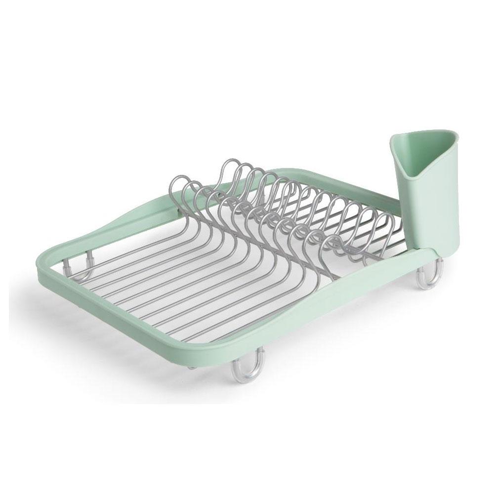 Сушилка для посуды Sinkin dish мятная. 330065-730330065-730Простота, функциональность и удобный дизайн - вот отличительные особенности этой сушилки для посуды. Сочетание металла и пластика в единой конструкции делает её мобильной, а также позволяет легко чистить. Отсеки для тарелок, чашек и столовых приборов приподняты на ножках, чтобы вода не застаивалась под ними.