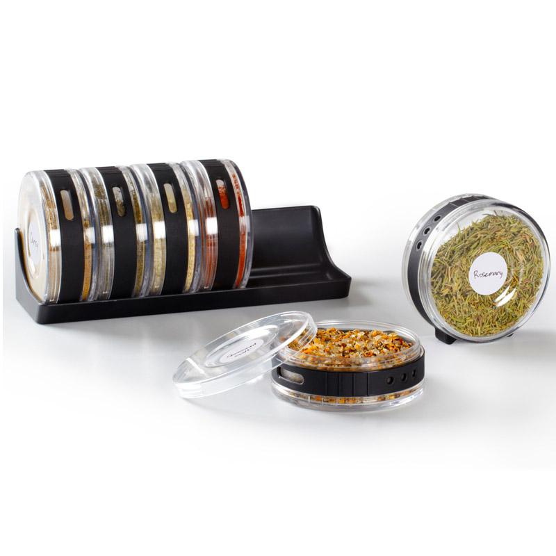 Емкости для специй в подставке Cylindra черные/прозрачные. 330640-188