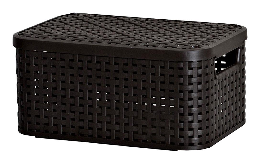 Корзина универсальная Curver Раттан, с крышкой, цвет: темно-коричневый, 39 см х 29 см х 18 см3618_тёмно-коричневыйПрямоугольная корзина Curver Раттан, изготовленная из прочного пластика, оснащена крышкой. Изделие идеально подойдет для хранения мелочей в ванной, на кухне, даче или гараже. Позволяет хранить мелкие вещи, исключая возможность их потери. Корзина с отверстиями на стенках, крышке и со сплошным дном оснащена двумя ручками для удобной переноски.