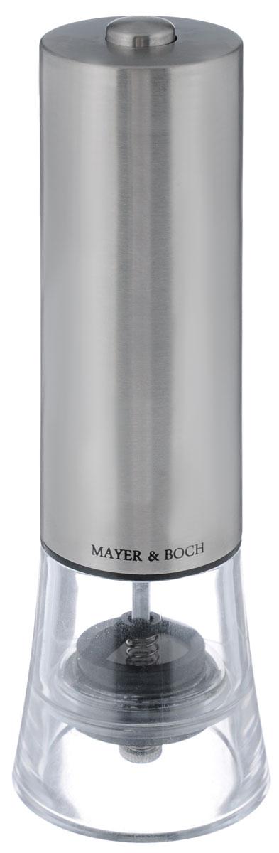 Электрическая мельница для соли и перца Mayer&Boch. 2416224162Электрическая мельница для соли и перца Mayer & Boch обладает элегантным современный дизайном. Мелющий механизм выполнен из первоклассной нержавеющей стали. Грубость помола можно регулировать. Электрическая мельница с легкостью справится с горошинами перца или крупными кристаллами соли и измельчит их до нужного вам состояния. Изделие легко мыть. Электрическая перцемолка Mayer & Boch - это стильный и функциональный аксессуар для кухни. Питается от 4 батареек типа АА (не входят в комплект).