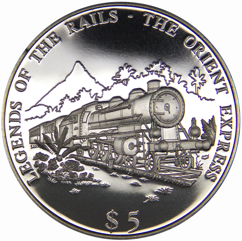 Монета номиналом 5 долларов Легенды железных дорог. Ориент Экспресс. Республика Либерия, 2000 год739Диаметр монеты: 40 мм Вес: 28 г. Материал: медь-никель Гурт: рубчатый