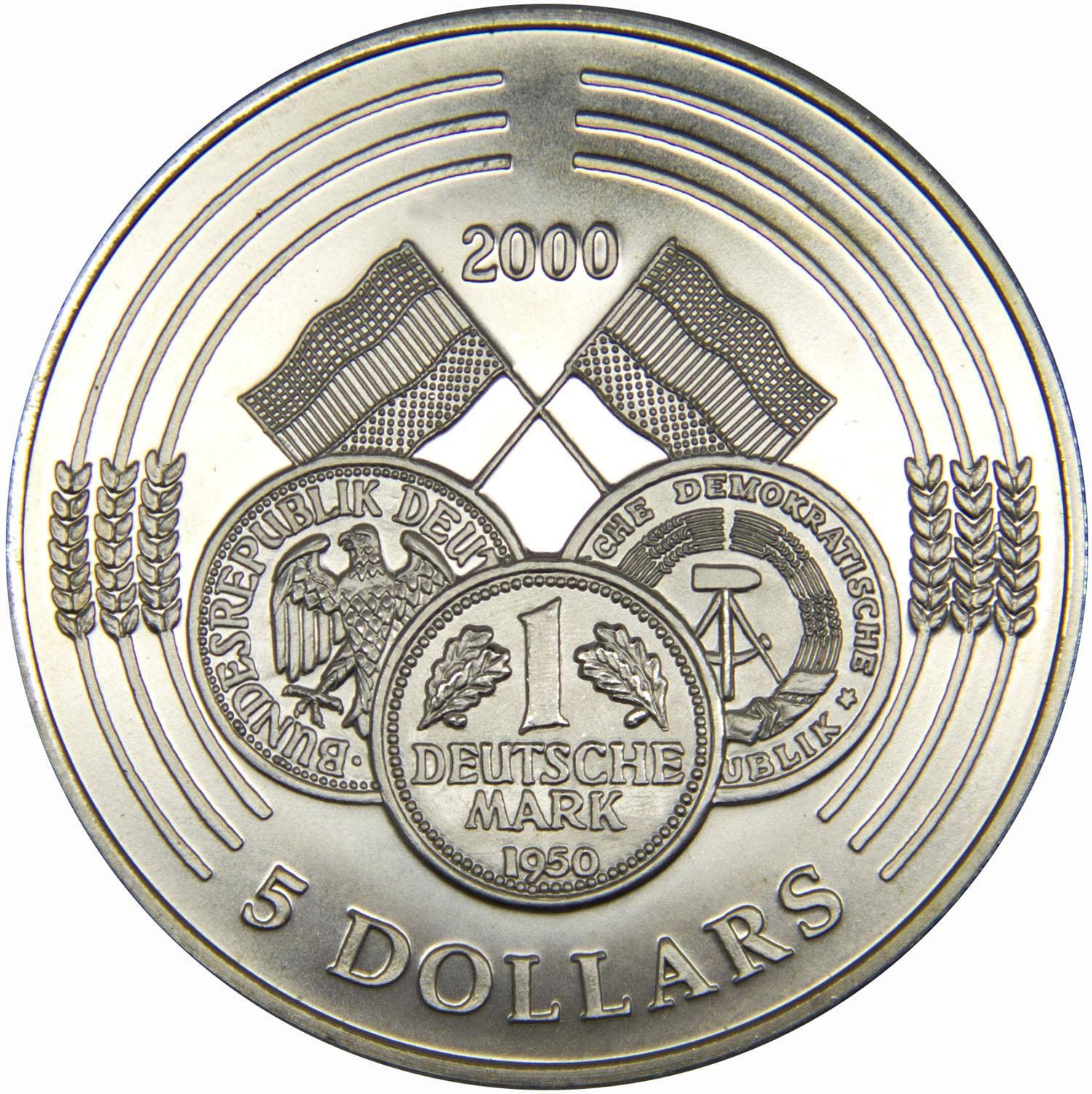 Монета номиналом 5 долларов Марка ГДР 2000. Республика Либерия, 2000 год739Диаметр монеты: 40 мм Вес: 28 г. Материал: медь-никель Гурт: рубчатый