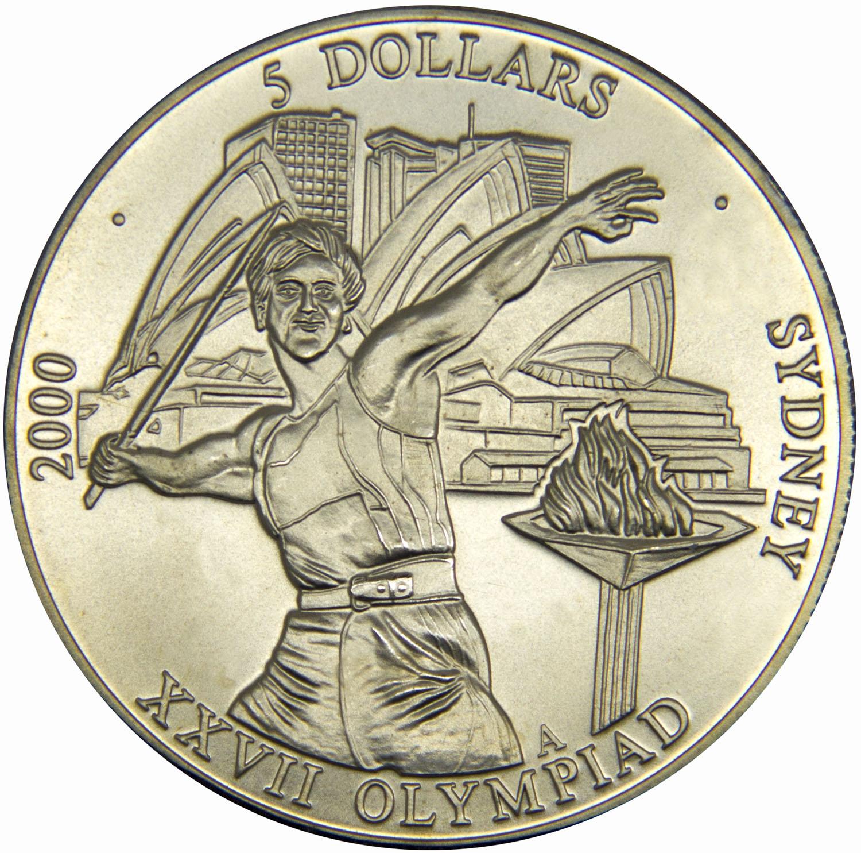 Монета номиналом 5 долларов XXVII Летние Олимпийские игры 2000 года в Сиднее. Республика Либерия, 2000 год739Диаметр монеты: 32 мм Вес: 14,83 г. Материал: медь-никель Гурт: рубчатый