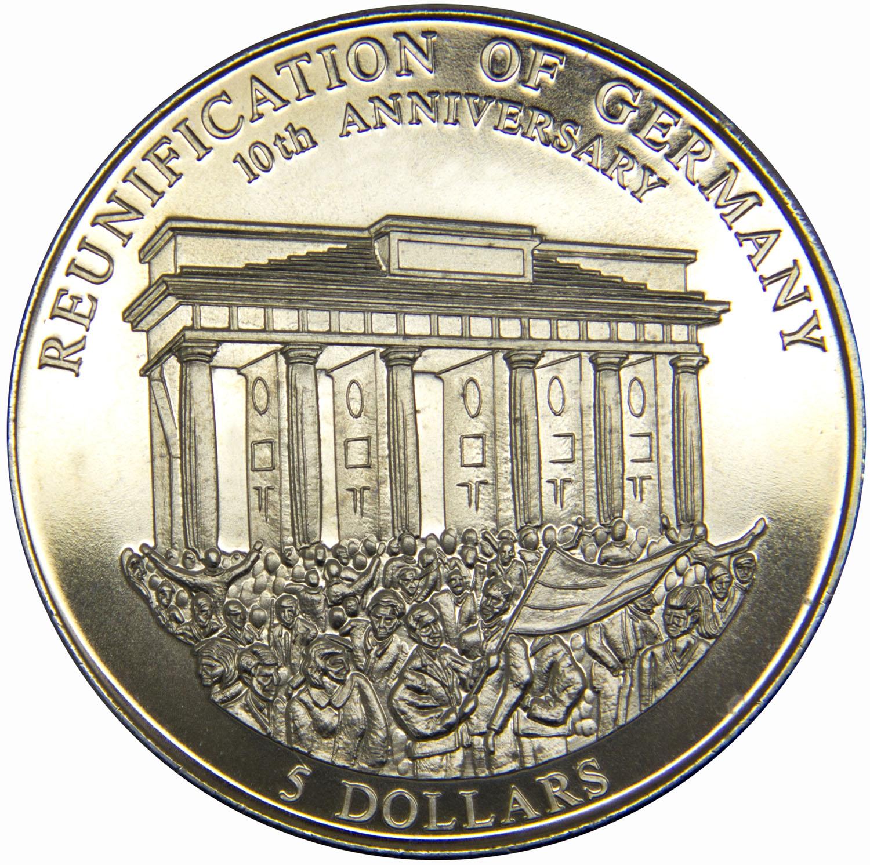 Монета номиналом 5 долларов 10 лет объединения Германии. Республика Либерия, 2000 год