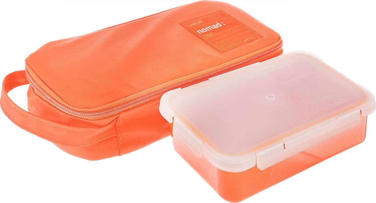 Термосумка Valira Nomad One, с контейнером, цвет: оранжевый, 750 мл6029/148Термосумка Valira Nomad One - это удобная и стильная термосумка небольшого размера, которая сохраняет температуру содержимого до 6 часов. Сумка выполнена из гигиеничного непромокаемого текстиля. Внутри отделана термоизоляционным металлизированным материалом, сохраняющим еду горячей и вкусной. За сумкой очень легко ухаживать, внутренняя поверхность легко очищается влажной тряпкой. Сумка закрывается на молнию, снабжена боковой ручкой для удобной переноски. Внутри имеется сетчатый карман для столовых приборов. Благодаря своим компактным размерам поместится в любую сумку. В комплекте с термосумкой поставляется пищевой контейнер, выполненный из керамического пластика. Данный материал не содержит полипропилена, BPA и фталатов, что очень важно для здоровья. Контейнер оснащен крышкой с силиконовой прослойкой и защелками с четырех сторон. Полностью герметичен и водонепроницаем, отлично подходит даже для переноски жидких блюд. Не впитывает запахов и не окрашивается...