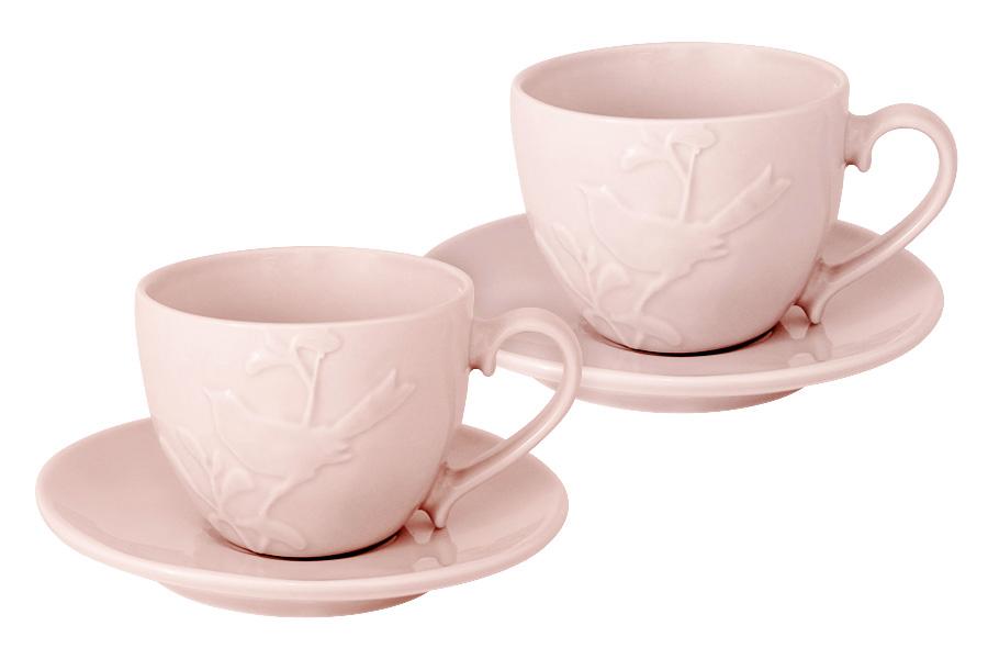 Чайный набор SantaFe Птицы, цвет: светло-розовый, 4 предметаSL-S15015/66p-ALЧайный набор SantaFe Птицы состоит из двух чашек и двух блюдец, выполненных из высококачественной керамики. Изделия оформлены изящным изображением птиц и имеют изысканный внешний вид. Такой набор эффектно украсит стол к чаепитию и порадует вас функциональность и ярким дизайном. Объем чашки: 250 мл.