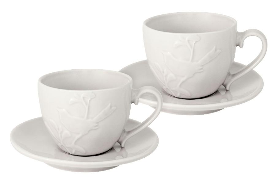Чайный набор SantaFe Птицы, цвет: кремовый, 4 предметаSL-S15015/66cr-ALЧайный набор SantaFe Птицы состоит из двух чашек и двух блюдец, выполненных из высококачественной керамики. Изделия оформлены изящным изображением птиц и имеют изысканный внешний вид. Такой набор эффектно украсит стол к чаепитию и порадует вас функциональность и ярким дизайном. Объем чашки: 250 мл.