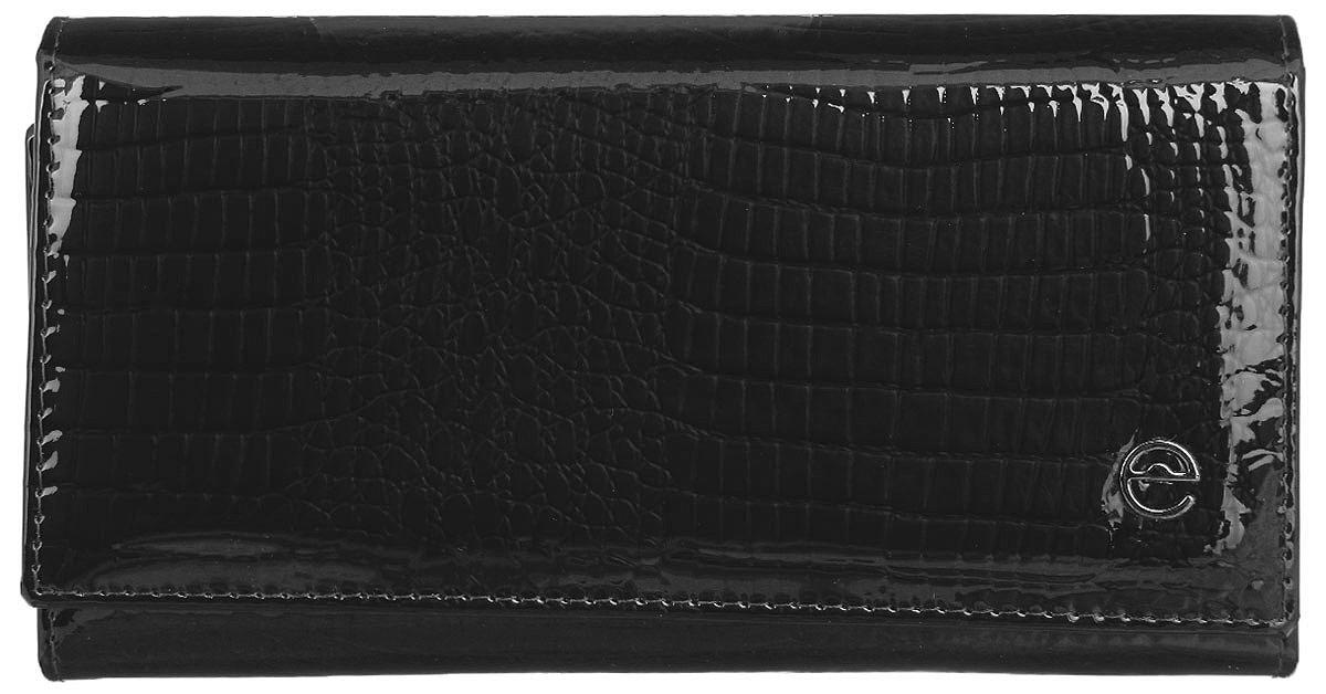 Кошелек женский Cheribags, цвет: черный. 02К-5246-1002К-5246-10Стильный женский кошелек Cheribags выполнен из натуральной кожи с тиснением под рептилию и оформлен металлической фурнитурой с символикой бренда. Внутренняя часть изделия выполнена из текстиля и натуральной кожи. Изделие закрывается клапаном на кнопку. Кошелек содержит три отделения для купюр, отделение для монет на застежке-молнии, врезной карман на молнии, накладной карман, четыре накладных кармана для визиток или кредитных карт, сетчатый накладной карман. Кошелек оснащен дополнительным отделением, которое закрывается хлястиком на кнопку и содержит два сетчатых накладных кармашка, четыре накладных кармашка для визиток, один накладной карман. Снаружи, в тыльной стенке изделия, расположен врезной карман на молнии. Кошелек станет отличным подарком человеку, ценящему практичные и стильные вещи, а качество его исполнения представит такой подарок в самом выгодном свете.