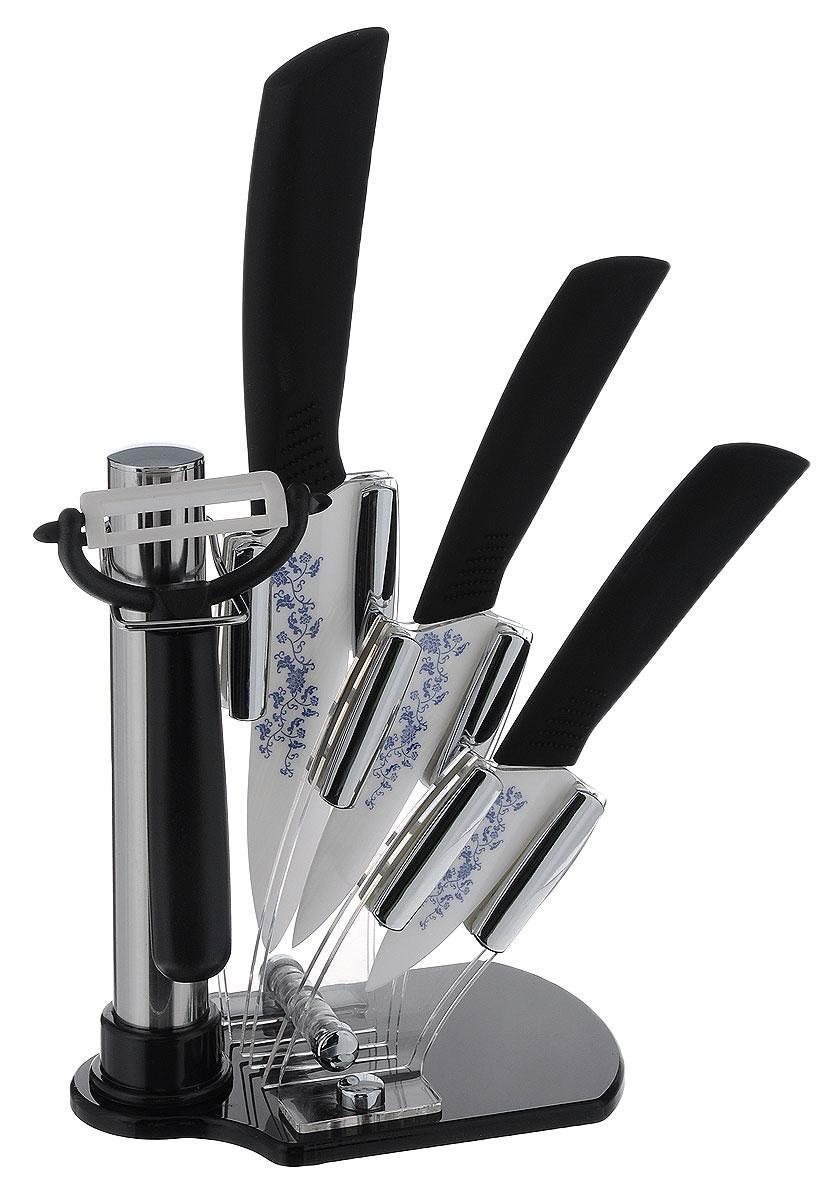 Набор керамических ножей Mayer & Boch, цвет: черный, 5 предметов. 2186221862_черныйНабор ножей Mayer & Boch состоит из 3 ножей, ножа-пиллера и подставки. Ножи выполнены из керамики, ручки из термопластика. Удобная акриловая подставка поможет хранить все ножи в одном месте. Оригинальный набор ножей великолепно украсит интерьер кухни и станет замечательным помощником. Можно мыть в посудомоечной машине. Материал подставки: акрил. Длина лезвия большого ножа: 12,7 см. Общая длина большого ножа: 25 см. Длина лезвия среднего ножа: 10,2 см. Общая длина среднего ножа: 20 см. Длина лезвия маленького ножа: 7,6 см. Общая длина маленького ножа: 18 см. Длина лезвия ножа-пиллера: 4,5 см. Размер ножа-пиллера: 13 см х 8 см х 2 см. Размер подставки: 15 см х 9 см х 20 см.