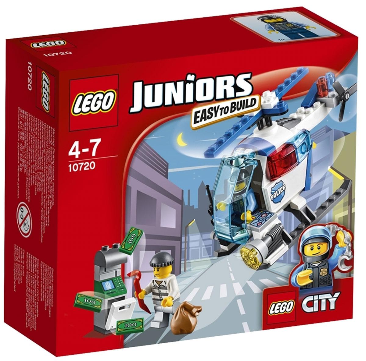 LEGO Juniors Конструктор Погоня на полицейском вертолете 1072010720Патрулируй небо над городом на полицейском вертолете! Найди вора, который пытается ограбить банкомат, а затем лети вниз и поймай его с поличным. Помогай полиции служить и защищать. LEGO Juniors дарит отличный опыт конструирования! Конструктор LEGO Juniors Погоня на полицейском вертолете включает в себя 63 разноцветных пластиковых элемента с двумя фигурками. Конструктор - это один из самых увлекательных и веселых способов времяпрепровождения. Ребенок сможет часами играть с конструктором, придумывая различные ситуации и истории.
