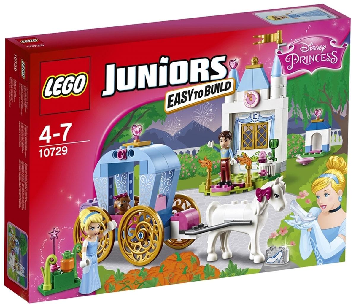 LEGO Juniors Конструктор Карета Золушки 1072910729Присоединись к Золушке в её захватывающей поездке в заколдованной карете! Встреть Прекрасного принца, поиграй с милым щенком Золушки и помоги ей подготовиться к балу. А потом поспеши домой, прежде чем магия исчезнет! Стань частью классической сказки! Конструктор LEGO Juniors Карета Золушки включает в себя 116 разноцветных пластиковых элементов с двумя фигурками. Конструктор - это один из самых увлекательных и веселых способов времяпрепровождения. Ребенок сможет часами играть с конструктором, придумывая различные ситуации и истории.