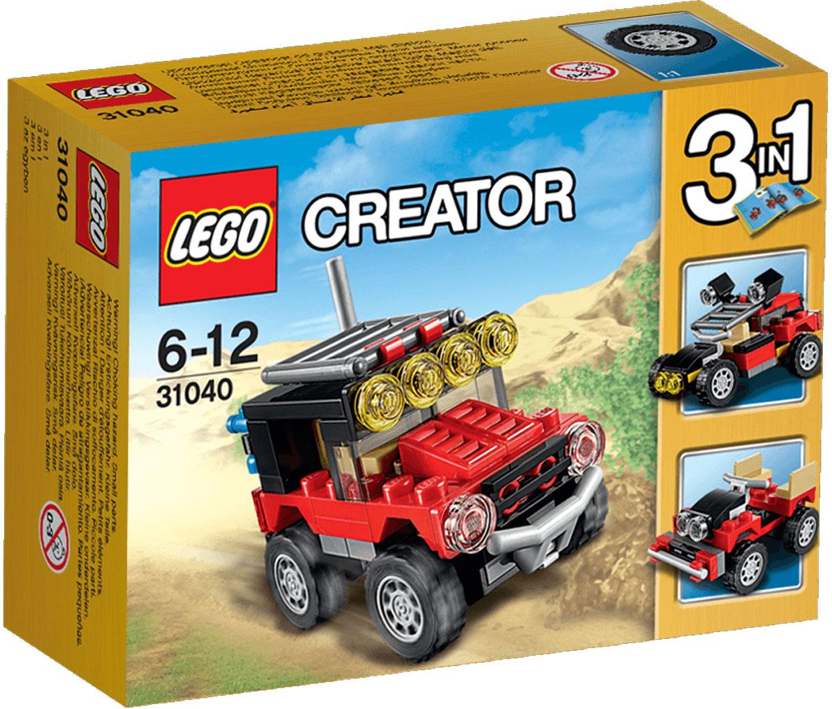 LEGO Creator Конструктор Гонки в пустыне 3104031040Отправляйтесь в увлекательное путешествие в пустыню на суровом внедорожнике, раскрашенном в крутые цвета: красный, черный и коричневый, и оснащенном желтыми маячками предупреждения, антенной, дополнительным бампером, каркасом безопасности и большими шинами с глубоким протектором. Забирайтесь в кабину и испытайте этот мощный автомобиль! Когда будете готовы к очередной задаче, перестройте его в удивительный багги для езды по песку или в мощный полноприводный автомобиль. Набор включает в себя 65 разноцветных пластиковых элементов. Конструктор - это один из самых увлекательных и веселых способов времяпрепровождения. Ребенок сможет часами играть с конструктором, придумывая различные ситуации и истории.