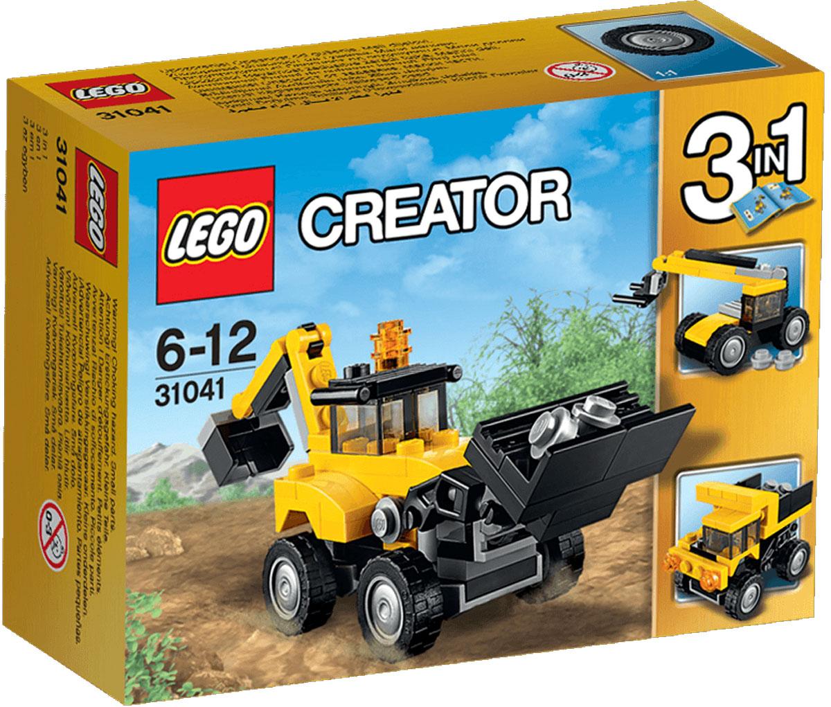 LEGO Creator Конструктор Строительная техника 3104131041Садитесь в мощный экскаватор-погрузчик, выполненный в классических желтом и черном цвете с оранжевым маячком, опрокидывающимся передним ковшом, рабочим задним ковшом и прочными шинами с глубоким протектором. Устанавливайте его на площадке, опускайте ковш и разбирайте завалы! Когда будете готовы к очередной задаче, переделайте его в мощный самосвал или в погрузчик. Набор включает в себя 64 разноцветных пластиковых элемента. Конструктор - это один из самых увлекательных и веселых способов времяпрепровождения. Ребенок сможет часами играть с конструктором, придумывая различные ситуации и истории.