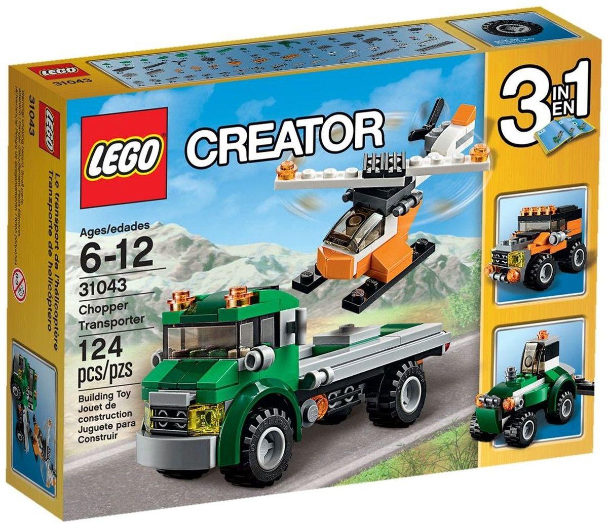 LEGO Creator Конструктор Перевозчик вертолета 3104331043Придумайте веселую игру с этим удивительным набором, в который входит мощный эвакуатор, раскрашенный в зеленый, темно-зеленый и серый цвета и имеющий 2 оранжевых предупредительных маячка и шины с глубоким протектором, а также крутой вертолет, раскрашенный в оранжевый, белый и черный цвета и включающий тонированную кабину и вращающиеся винты. Загружайте вертолет и отправляйтесь на аэродром! Перестройте его в прочный трактор или надежный внедорожник. Набор включает в себя 124 разноцветных пластиковых элемента. Конструктор - это один из самых увлекательных и веселых способов времяпрепровождения. Ребенок сможет часами играть с конструктором, придумывая различные ситуации и истории.