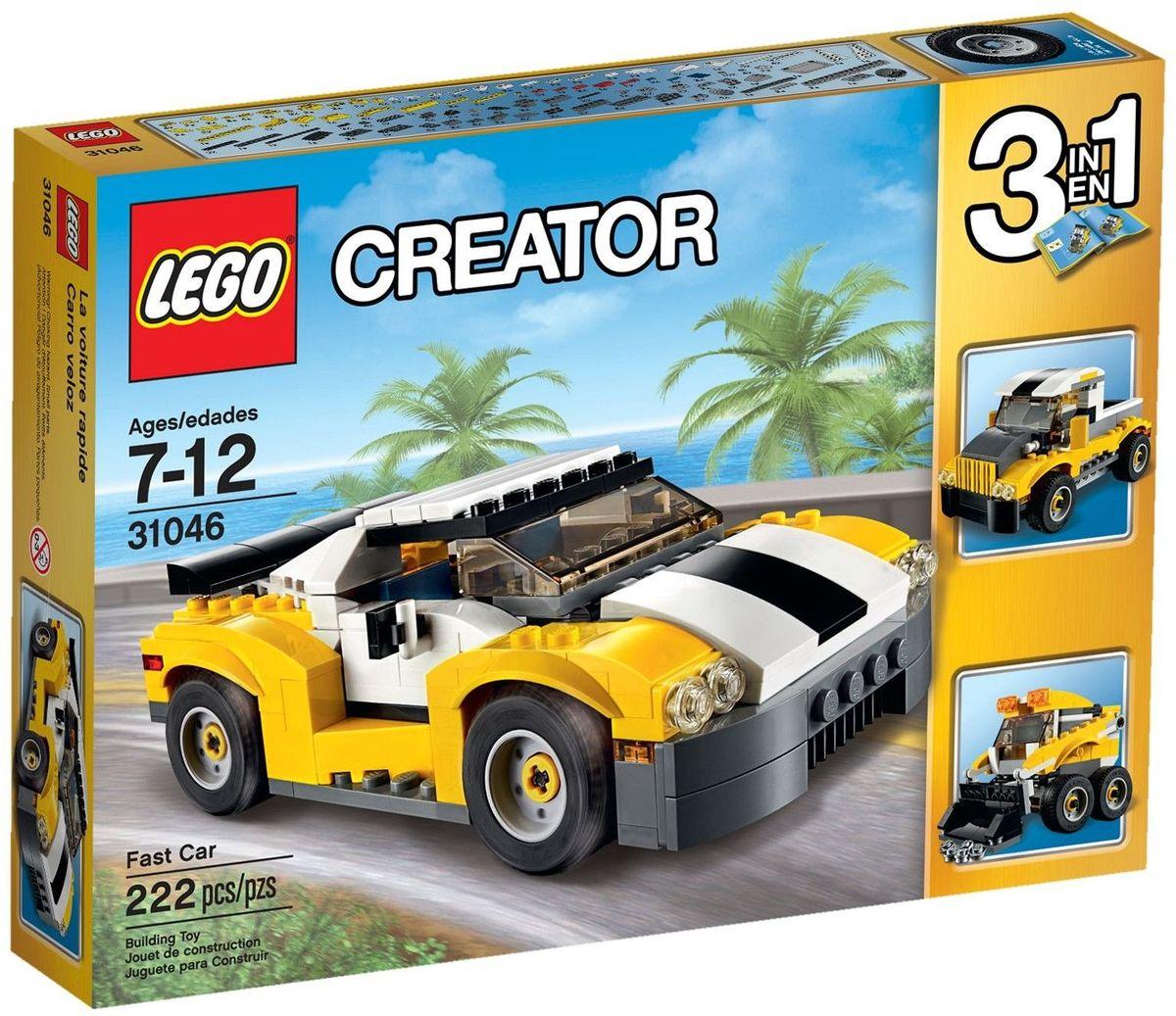 LEGO Creator Конструктор Кабриолет 3104631046Выезжайте на дорогу на удивительном спортивном автомобиле, раскрашенном в желтый, белый и черный цвета и имеющем огромный спойлер, стильные диски с низкопрофильными шинами, открывающийся верх кузова и детализированный двигатель. Откройте поднимающиеся двери, садитесь за руль, складывайте крышу и наслаждайтесь солнечными лучами, испытывая возможности этого удивительного кабриолета! Перестройте его в грузовик-пикап или погрузчик с бортовым поворотом. Набор включает в себя 222 разноцветных пластиковых элемента. Конструктор - это один из самых увлекательных и веселых способов времяпрепровождения. Ребенок сможет часами играть с конструктором, придумывая различные ситуации и истории.