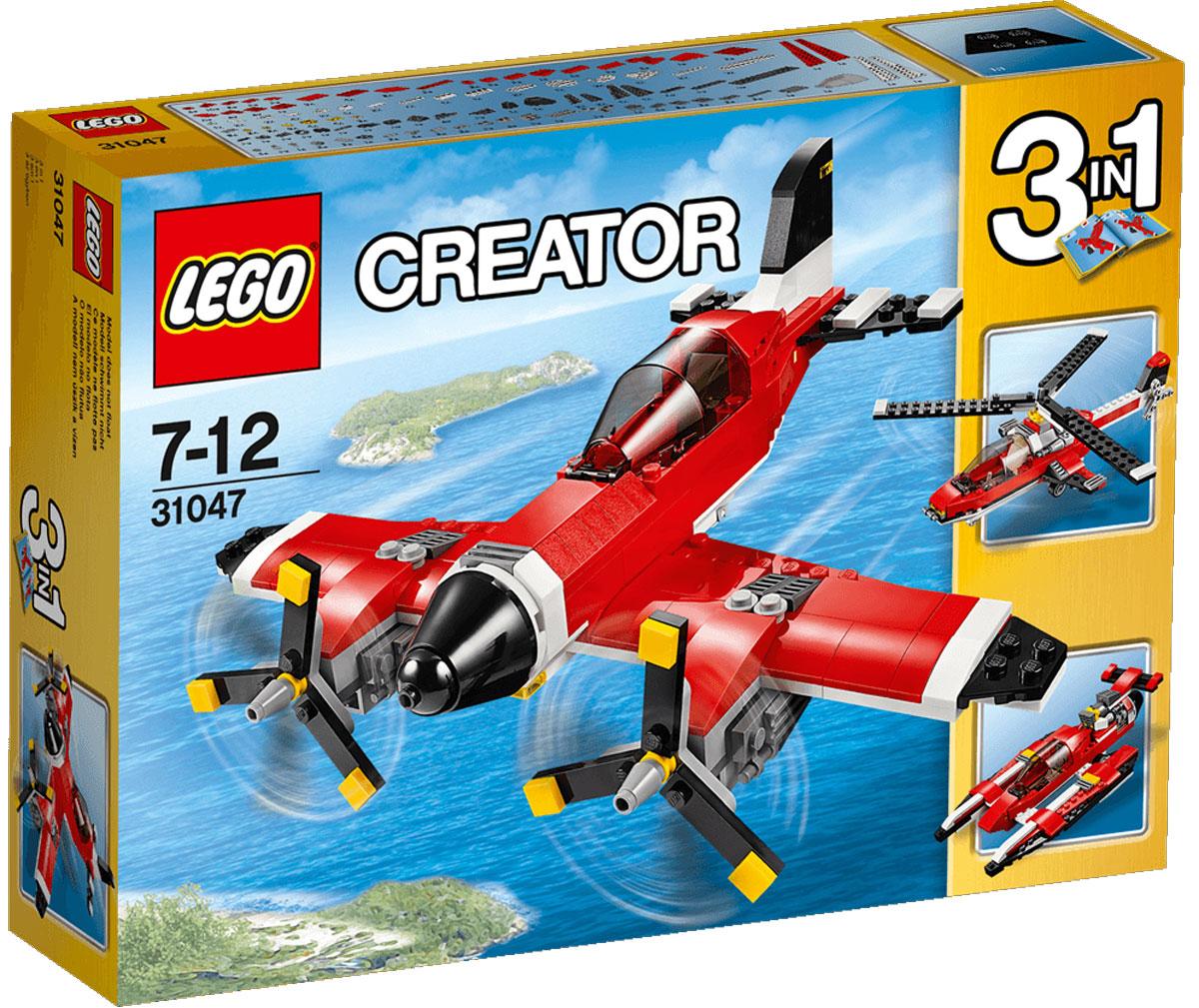 LEGO Creator Конструктор Путешествие по воздуху 3104731047Испытайте этот классический самолет, раскрашенный в красный, белый и черный цвета и оснащенный вращающимися винтами и открывающейся кабиной с местом для минифигурки (не входит в комплект). Прыгайте в кабину, оставьте взлетную полосу внизу и взлетайте под облака. А когда полет закончится, выпускайте шасси, чтобы совершить идеальную посадку! Перестройте модель в высокотехнологичный гидроплан или вертолет. Набор включает в себя 230 разноцветных пластиковых элементов. Конструктор - это один из самых увлекательных и веселых способов времяпрепровождения. Ребенок сможет часами играть с конструктором, придумывая различные ситуации и истории.