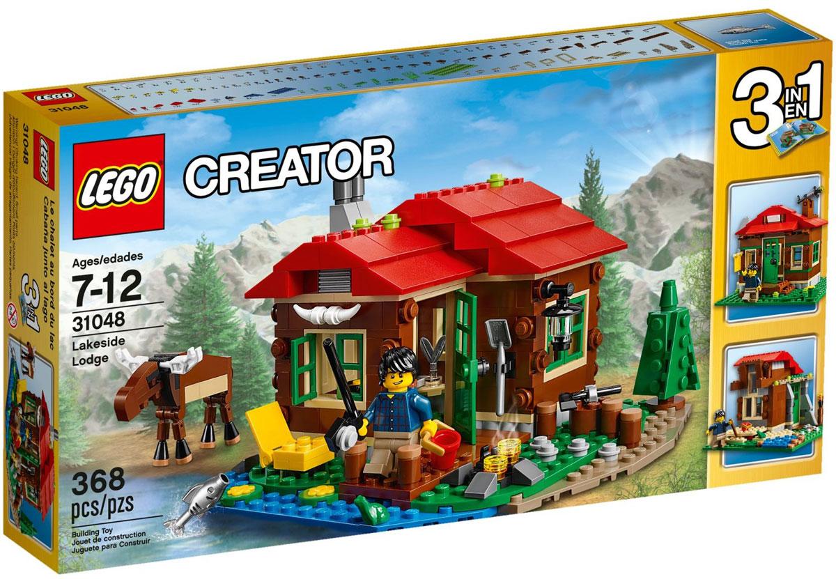 LEGO Creator Конструктор Домик на берегу озера 3104831048Создайте свой собственный уголок для отдыха, расположенный в милом местечке и выполненный в приятной красной, коричневой, зеленой и синей цветовой гамме, с уютным интерьером с плитой, кроватью и столом. Нарубите дров для костра, организуйте место для рыбалки или просто наслаждайтесь тишиной и спокойствием в компании дружелюбного лося и крошечной лягушки. Когда вам захочется перемен, соберите обсерваторию или небольшую хижину. Набор включает в себя 368 разноцветных пластиковых элементов. Конструктор - это один из самых увлекательных и веселых способов времяпрепровождения. Ребенок сможет часами играть с конструктором, придумывая различные ситуации и истории.