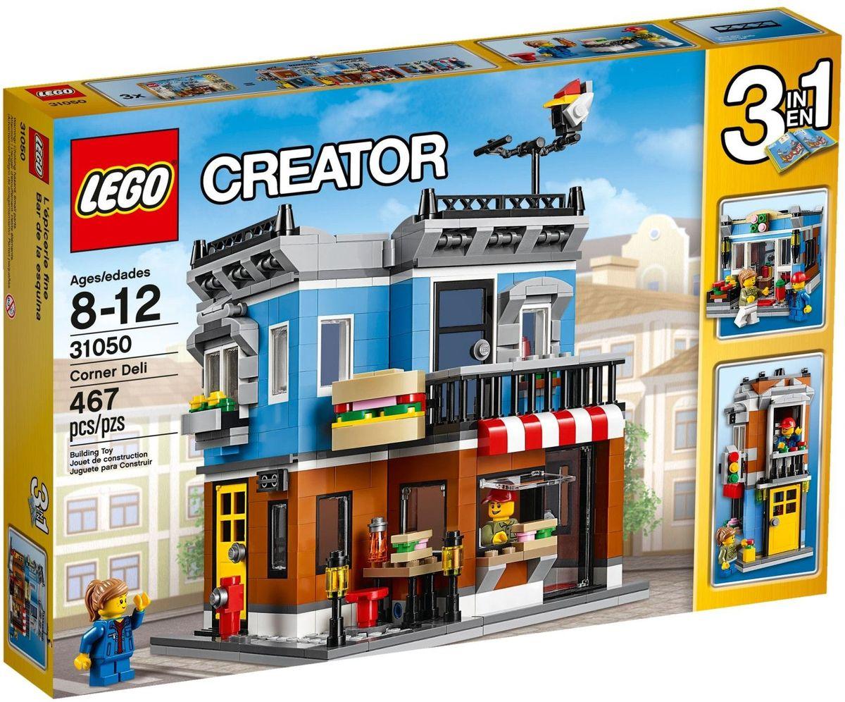 LEGO Creator Конструктор Магазинчик на углу 3105031050Откройте собственный магазин, где будет красно-белый полосатый тент, яркий цветной фасад и смешная вывеска в виде сэндвича. Готовьте бутерброды в уютной кухне, затем открывайте большие окошки и приглашайте проголодавшихся посетителей, которые останавливаются перекусить на оживленном тротуаре с уличными фонарями и пожарным гидрантом. Когда придет время для отдыха, поднимайтесь по лестнице в уютную квартиру на втором этаже, где есть удобное кресло, лампа и выход на балкон и террасу на крыше. Перестройте модель в небольшой таунхаус или цветочный магазин. Набор включает в себя 467 разноцветных пластиковых элементов. Конструктор - это один из самых увлекательных и веселых способов времяпрепровождения. Ребенок сможет часами играть с конструктором, придумывая различные ситуации и истории.