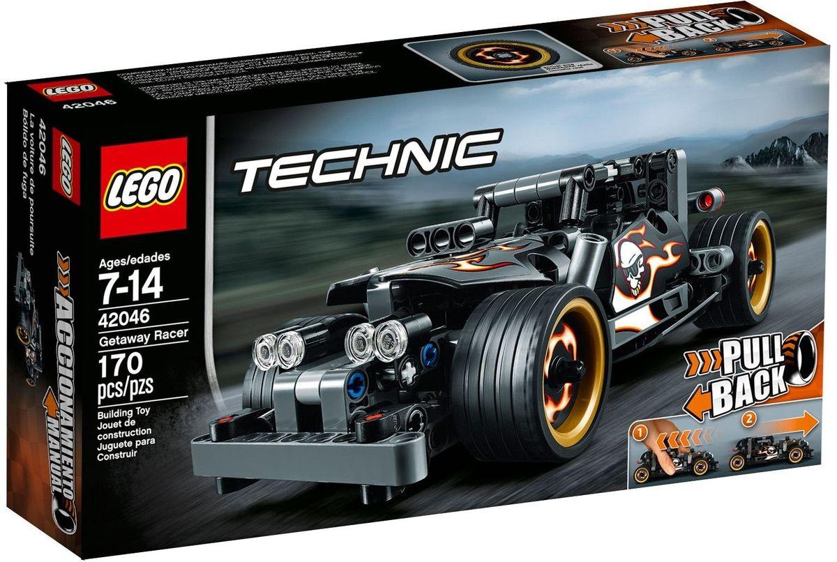 LEGO Technic Конструктор Гоночный автомобиль для побега 4204642046Прокатитесь по улицам на этом крутом, мощном автомобиле, оснащенным массивными экстра-широкими дисками с низкопрофильными шинами, огромными вертикальными выхлопными трубами, тяжелым передним бампером. Машина раскрашена в темно-серый и черный цвета с крутыми наклейками пламени, придающими модели грозный вид. Активируйте мощный инерционный двигатель для быстрого старта! Достаточно только отвести машинку назад, и она стремительно понесется вперед, уходя от полицейской погони. Набор включает в себя 170 разноцветных пластиковых элементов. Конструктор - это один из самых увлекательных и веселых способов времяпрепровождения. Ребенок сможет часами играть с конструктором, придумывая различные ситуации и истории.