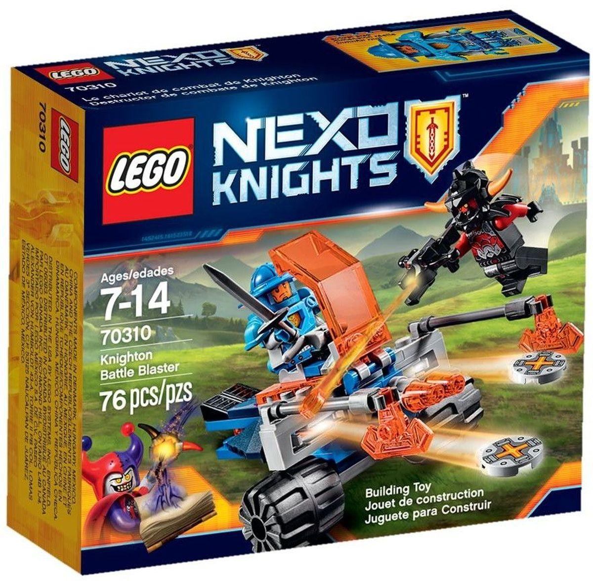 LEGO NEXO KNIGHTS Конструктор Королевский боевой бластер 7031070310Найдите цель и стреляйте! Направьте двухдисковое орудие на зловещего Пеплометателя! Перезаряжайте орудие, используя боеприпасы из сундука. Защитите королевство любой ценой, искусно обращаясь с мечом и могучим топором! Набор включает в себя 76 разноцветных пластиковых элемента. Конструктор - это один из самых увлекательных и веселых способов времяпрепровождения. Ребенок сможет часами играть с конструктором, придумывая различные ситуации и истории.