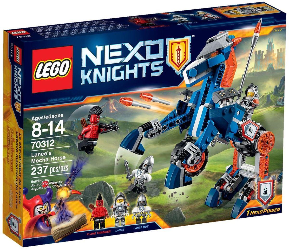 LEGO NEXO KNIGHTS Конструктор Ланс и его механический конь 7031270312Оседлайте и отправьте в бой механического коня Ланса 2 в 1! Сразитесь со зловещим Огнеметателем в виде коня или используйте возможность перестроить коня в суперскоростной автомобиль. Помогите Nexo рыцарю Лансу победить врага при помощи реактивных ракет или отправьте в гущу событий испытанного временем бота Ланса, а потом можете взять себе его славу! В набор входит щит для сканирования с Nexo Силой - Притягивающий луч. Набор включает в себя 237 разноцветных пластиковых элементов. Конструктор станет замечательным сюрпризом вашему ребенку, который будет способствовать развитию мелкой моторики рук, внимательности, усидчивости и мышления. Играя с конструктором, ребенок научится собирать детали по образцу, проводить время с пользой и удовольствием.