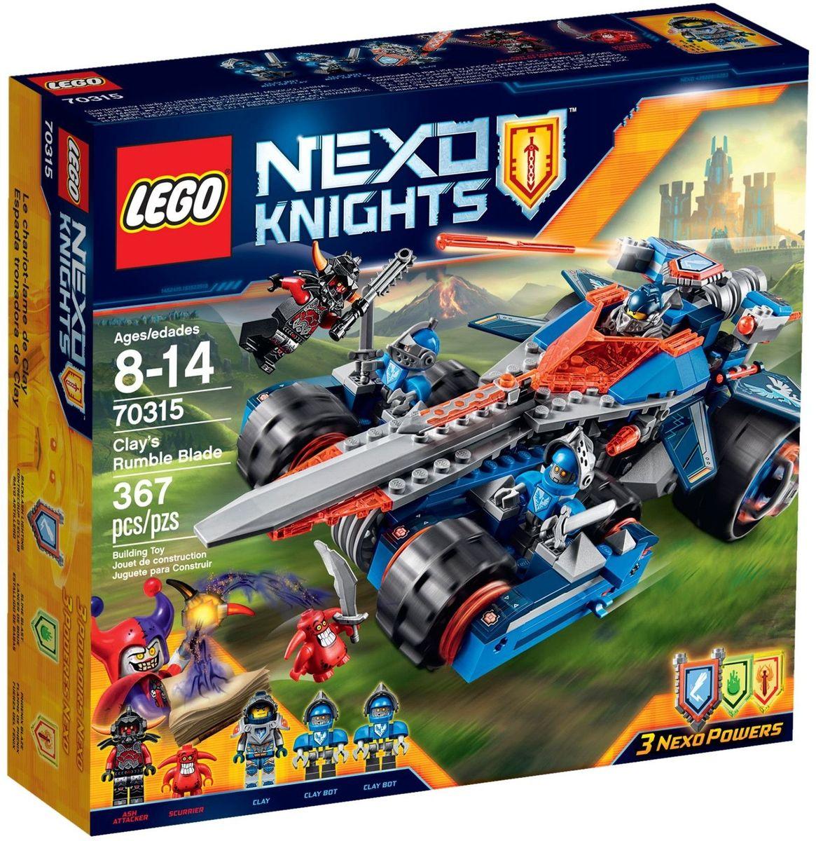 LEGO NEXO KNIGHTS Конструктор Устрашающий разрушитель Клэя 7031570315Готовьтесь к бою! Отправьте верных ботов Клэя на байках с мечами искать грозного Пеплометателя и злобного Шустрика. Запустите Клэя Мурингтона в самую гущу боя на съемном скоростном Мечемобиле и разгромите врагов ракетными снарядами! Окажется ли Клэй достойным рыцарем LEGO NEXO KNIGHTS, способным защитить королевство Найтония? В набор входит 3 щита для сканирования, дающие Nexo Силы: Ответный Разряд, Пламя Феникса и Взрыв Слизи. Набор включает в себя 367 разноцветных пластиковых элементов. Конструктор - это один из самых увлекательных и веселых способов времяпрепровождения. Ребенок сможет часами играть с конструктором, придумывая различные ситуации и истории.