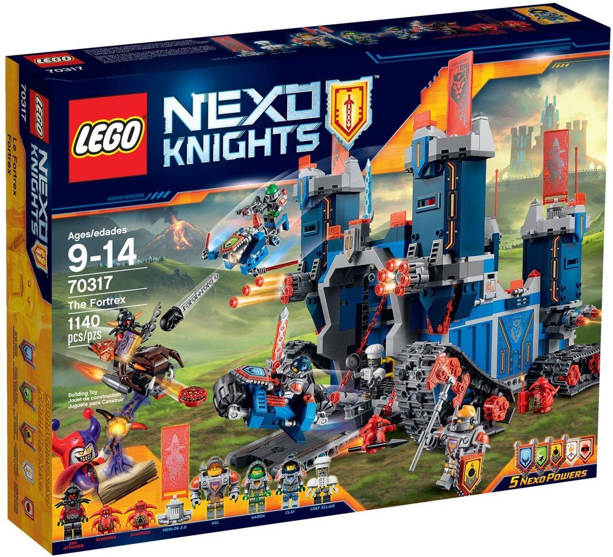 LEGO NEXO KNIGHTS Конструктор Фортрекс мобильная крепость 7031770317Когда Джестро угрожает Найтонии, рыцари LEGO NEXO KNIGHTS встают на защиту королевства! Отправьте в бой Фортрекс, огромную мобильную крепость 2 в 1! Захватите в плен Пеплометателя и Шустриков с помощью рыцарского мотоцикла и Аэромолота V1! Штаб рыцарей, оснащенный по последнему слову техники, находится за раскладными стенами. Получите указания и составьте план следующей миссии за круглым столом - вместе вы сможете остановить Джестро и не дать ему завладеть Книгой Зла! В набор входят 5 щитов для сканирования, дающих Nexo Силы: Сила земли, Сверхскорость, Клич Ястреба, Куриная Атака и Электрическая Атака. Набор включает в себя 1140 разноцветных пластиковых элементов. Конструктор станет замечательным сюрпризом вашему ребенку, который будет способствовать развитию мелкой моторики рук, внимательности, усидчивости и мышления. Играя с конструктором, ребенок научится собирать детали по образцу, проводить время с пользой и удовольствием.