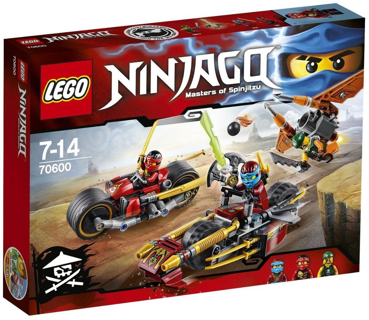LEGO NINJAGO Конструктор Погоня на мотоциклах 7060070600Нацель скрытые пушки и ускорители мотоцикла Кая на флайер небесного пирата. Уклоняйся от бомб с флайера и целься из водомёта стихий, установленного на удивительном мотоцикле Нии. Сбей флайер, а затем разверни золотые мечи ниндзя на мотоцикле Кая, чтобы атаковать. Ты должен победить Скиффи и освободить Коула из Джинн-клинка! Конструктор LEGO NINJAGO Погоня на мотоциклах включает в себя 231 разноцветный пластиковый элемент с тремя фигурками. Конструктор - это один из самых увлекательных и веселых способов времяпрепровождения. Ребенок сможет часами играть с конструктором, придумывая различные ситуации и истории.