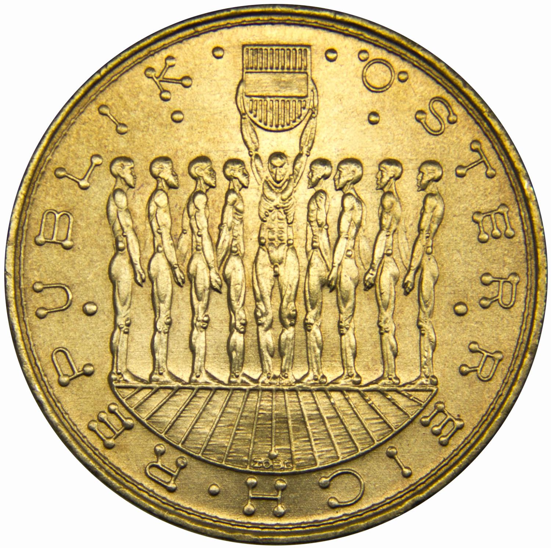 Монета номиналом 20 шиллингов Девять австрийских провинций. Австрия, 1980 год739Диаметр монеты: 28 мм Вес: 8 г. Материал: медь-никель-алюминий Гурт: с горошинами