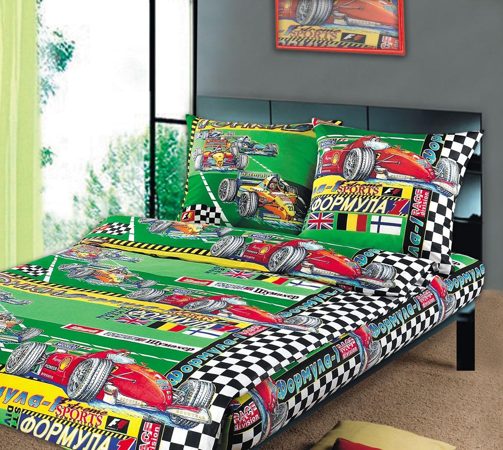 ТексДизайн Комплект детского постельного белья Формула 1 1,5-спальный1100АКомплект детского постельного белья Формула 1, состоящий из двух наволочек, простыни и пододеяльника, выполнен из прочной бязи. Комплект постельного белья украшен изображениями гоночных автомобилей на зеленом фоне. Сегодня компания Текс-Дизайн является крупнейшим поставщиком эксклюзивной набивной бязи. Вся ткань изготовлена из 100% хлопка. Бязь - хлопчатобумажная плотная ткань полотняного переплетения. Отличается прочностью и стойкостью к многочисленным стиркам. Бязь считается одной из наиболее подходящих тканей, для производства постельного белья и пользуется в России большим спросом. Фирменная продукция отличается оригинальным дизайном, высокой прочностью и долговечностью. Такой комплект идеально подойдет для кроватки вашего малыша. На нем ребенок будет спать здоровым и крепким сном.