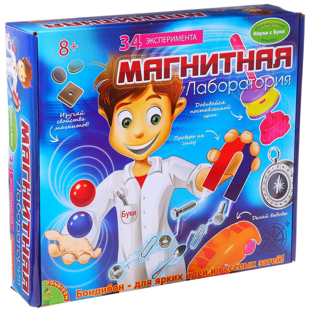 Bondibon Набор для опытов Магнитная лабораторияВВ1111Оказывается, магниты притягивают не только многие металлические предметы, но и внимание юных исследователей! Это подтверждает научно-познавательный набор Магнитная лаборатория, в котором собраны десятки увлекательных экспериментов с использованием магнитов. Проводя эти занимательные опыты, ребенок получает знания о свойствах и силе магнитов, о том, что такое магнитные полюса и почему одни материалы притягиваются к ним, а другие - нет. Кроме того, Магнитная лаборатория познакомит ребенка с историей магнитов, сфере их применения и даже научит изготавливать их самостоятельно. Все эти знания и умения обязательно пригодятся ребенку не только в изучении физики, но и в повседневной жизни. А если проводить опыты с друзьями, то можно превратить эти занимательные эксперименты в веселую игру.