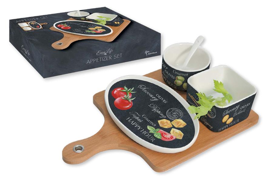 Набор для закуски: чаша (8см) с ложкой, салатник (9х9см), блюдо (18.5х12см), поднос. R2S907/WOPA-ALR2S907/WOPA-ALВся продукция производится из современных и экологически чистых материалов: фарфора, стекла, пластика и дерева. Продукция компании «NUOVA R2S» отличается современным дизайном, и легкостью в эксплуатации. Компания работает в тесном сотрудничестве с лучшими итальянскими художниками и дизайнерами. Важным преимуществом этой фабрики, является оригинальная подарочная упаковка. Продукция компании «NUOVA R2S» не только современный подарок и украшение для Вашего дома, но и всегда неисчерпаемое количество идей на Вашей кухне.