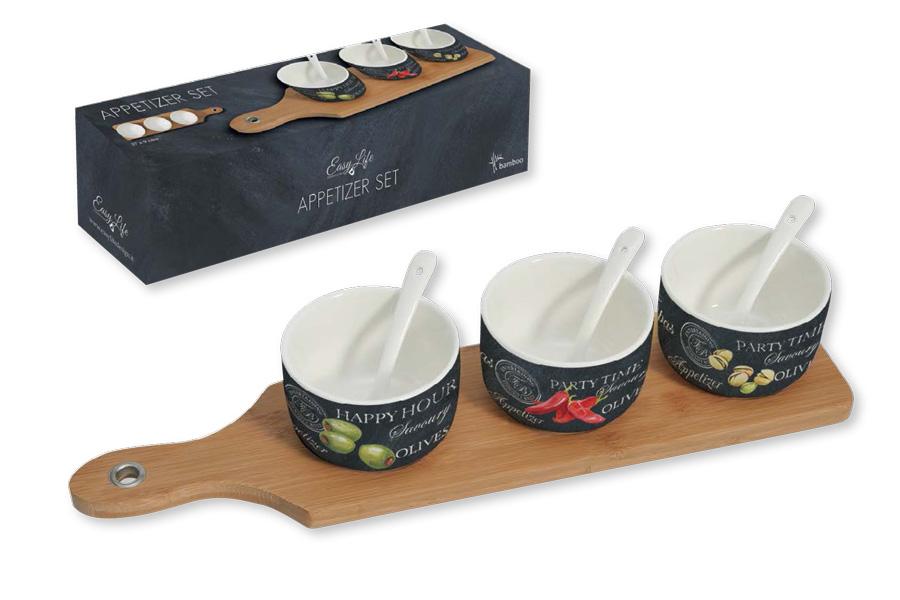 Набор для закуски: 3 чаши (8см) с ложками, поднос. R2S894/WOPA-AL