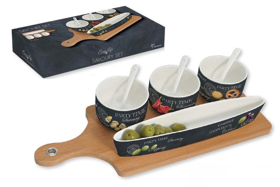 Набор для закуски: 3 чаши (8см) с ложками, блюдо (26х4.5см), поднос. R2S906/WOPA-ALR2S906/WOPA-ALВся продукция производится из современных и экологически чистых материалов: фарфора, стекла, пластика и дерева. Продукция компании «NUOVA R2S» отличается современным дизайном, и легкостью в эксплуатации. Компания работает в тесном сотрудничестве с лучшими итальянскими художниками и дизайнерами. Важным преимуществом этой фабрики, является оригинальная подарочная упаковка. Продукция компании «NUOVA R2S» не только современный подарок и украшение для Вашего дома, но и всегда неисчерпаемое количество идей на Вашей кухне.