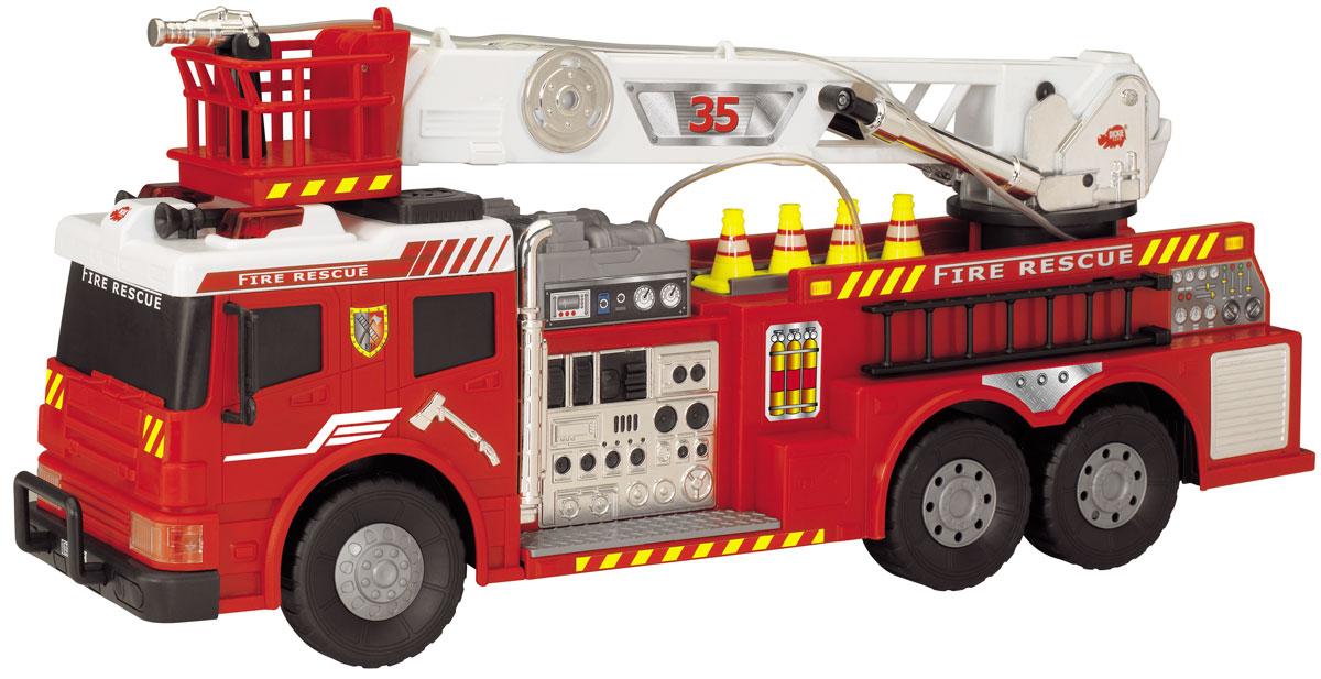 Dickie Toys Пожарная машина на радиоуправлении3442889Пожарная машина на радиоуправлении Dickie Toys обязательно порадует вашего ребенка и подарит ему множество веселых игр и положительных эмоций. Выполненная из высококачественного безопасного пластика игрушка отличается большим размером и имеет интересные световые и звуковые эффекты. Стрела пожарной машины поворачивается, лестница выдвигается. Для большей реалистичности стрела оснащена резиновым шлангом с функцией подачи воды. Ребенок сможет залить в специально предназначенный отсек настоящую воду и тушить воображаемые пожары. Кроме того, модель обладает высокой детализацией и имеет инерционный механизм. Машинкой можно управлять при помощи пульта управления и просто катать ее по полу или земле. При помощи пульта игрушка движется вперед, назад, влево и вправо, также на пульте расположены кнопки включения сирены и подачи воды. Радиоуправляемые игрушки развивают у ребенка мелкую моторику, логику, координацию движений и пространственное мышление. Порадуйте своего малыша таким...
