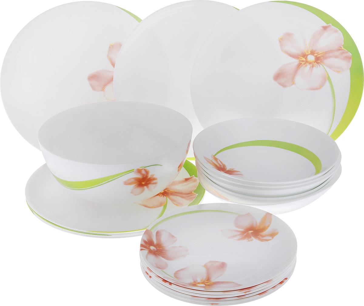 Набор столовой посуды Luminarc Sweet Impression, 19 предметовE4946Набор Luminarc Sweet Impression состоит из 6 суповых тарелок, 6 обеденных тарелок, 6 десертных тарелок и салатника. Изделия выполнены из ударопрочного стекла, оформлены ярким рисунком цветов и имеют классическую круглую форму. Посуда отличается прочностью, гигиеничностью и долгим сроком службы, она устойчива к появлению царапин и резким перепадам температур. Такой набор прекрасно подойдет как для повседневного использования, так и для праздников или особенных случаев. Набор столовой посуды Luminarc Sweet Impression - это не только яркий и полезный подарок для родных и близких, а также великолепное дизайнерское решение для вашей кухни или столовой. Можно мыть в посудомоечной машине и использовать в микроволновой печи. Диаметр суповой тарелки (по верхнему краю): 20 см. Высота суповой тарелки: 4 см. Диаметр обеденной тарелки (по верхнему краю): 25 см. Высота обеденной тарелки: 1,7 см. Диаметр десертной тарелки (по...