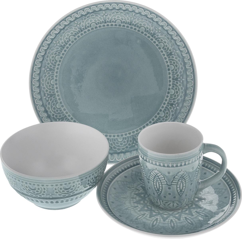 Набор столовой посуды Tongo, цвет: серый, 4 предметаS-04g TongoНабор столовой посуды Tongo состоит из салатника, кружки, десертной тарелки, обеденной тарелки. Изделия выполнены из экологически чистой каменной керамики, покрытой сверкающей глазурью. Посуда оформлена изысканным рельефным орнаментом. Поверхность слегка потрескавшаяся, что придает изделию винтажный вид и оттенок старины. Такой набор посуды прекрасно подходит как для торжественных случаев, так и для повседневного использования. Стильный дизайн изящно украсит сервировку стола. Можно использовать в посудомоечной машине и СВЧ. Диаметр десертной тарелки: 20,5 см. Диаметр обеденной тарелки: 26,7 см. Объем салатника: 800 мл. Диаметр салатника (по верхнему краю): 16 см. Высота салатника: 8 см. Объем кружки: 350 мл. Диаметр кружки (по верхнему краю): 9 см. Высота кружки: 10 см.