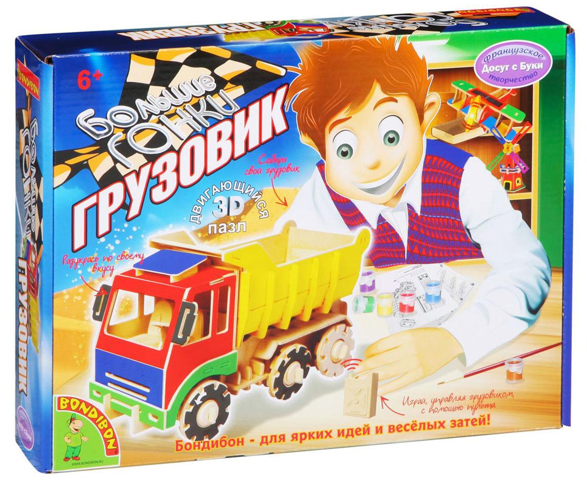 Bondibon 3D-пазл ГрузовикВВ1209Мощный игрушечный грузовик, который двигается с пульта в четырех направлениях и издает звуки, как настоящий, - гордость любого мальчишки. Двойная гордость - большая и красивая грузовая машина, сделанная своими руками. С помощью крупных деревянных деталей конструктора ребенок самостоятельно соберет машину, а набор цветных красок поможет ему раскрасить грузовик в самые яркие и красивые цвета. Осталось юному механику прикрепить к машине моторчик на батарейках, взять в руки пульт управления - и можно отправляться в песочницу с замечательной игрушкой, чтобы вдоволь наиграться и удивить своих друзей.