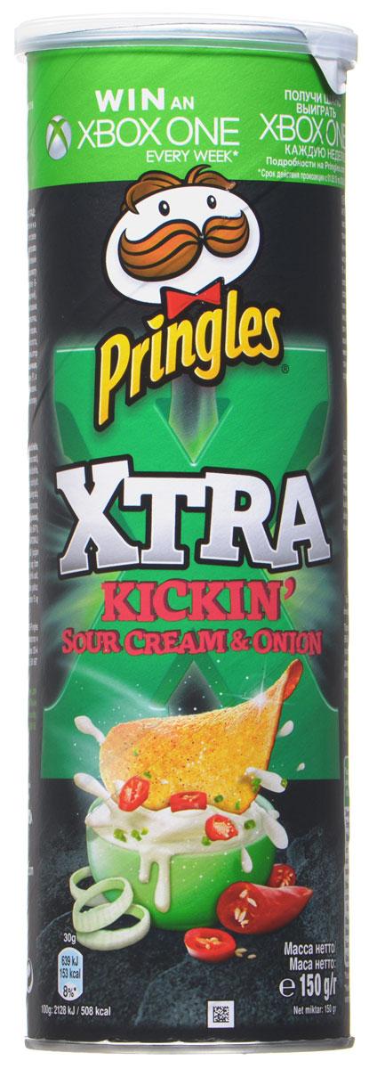 Pringles Xtra картофельные чипсы со вкусом сметаны и лука, 150 г7000408000Картофельные чипсы Pringles Xtra со вкусом сметаны и лука подарят вам неповторимый вкус этого превосходного сочетания.