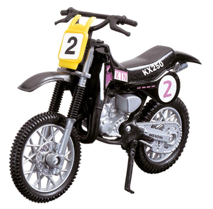Dickie Toys Кроссовый мотоцикл № 2 цвет черный - Dickie Toys3385773_черныйКроссовый мотоцикл Dickie Toys № 2 непременно понравится любому маленькому гонщику. Мотоцикл выполнен из прочного безопасного пластика, его колесики прорезинены для лучшего сцепления с поверхностью пола. Мотоцикл оснащен откидывающейся боковой ножкой и оформлен красочными стикерами. Яркий, реалистичный мотоцикл, выполненный с вниманием к деталям, станет отличным дополнением к автопарку вашего малыша! Ваш ребенок часами будет играть с такой игрушкой, придумывая различные истории и устраивая соревнования. Порадуйте его таким замечательным подарком!