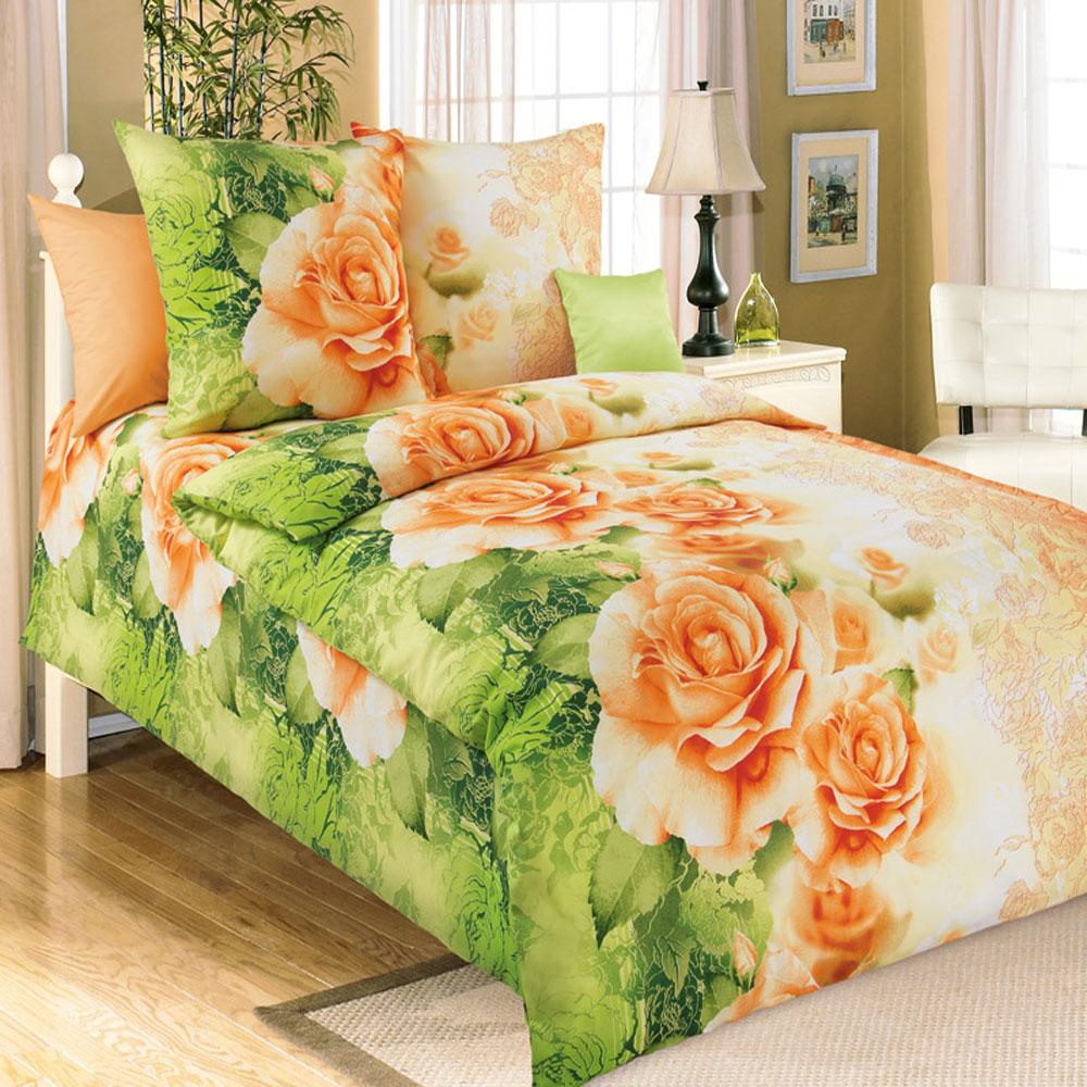 Комплект белья БеЛиссимо Эстель, 1,5-спальный, наволочки 70х70, цвет: зеленый, оранжевый. 1100А1100АКомплект постельного белья БеЛиссимо Эстель является экологически безопасным для всей семьи, так как выполнен из натурального хлопка. Комплект состоит из пододеяльника, простыни и двух наволочек. Постельное белье оформлено оригинальным цветочным 3D рисунком и имеет изысканный внешний вид. Для производства постельного белья используются экологичные ткани высочайшего качества. Бязь - хлопчатобумажная плотная ткань полотняного переплетения. Отличается прочностью и стойкостью к многочисленным стиркам. Бязь считается одной из наиболее подходящих тканей, для производства постельного белья и пользуется в России большим спросом. Коллекция эксклюзивных дизайнов БеЛиссимо - это яркое настроение интерьера вашей спальни. Натуральная ткань (бязь, 100% хлопок) и отличный пошив комплектов - залог вашего комфортного здорового сна.