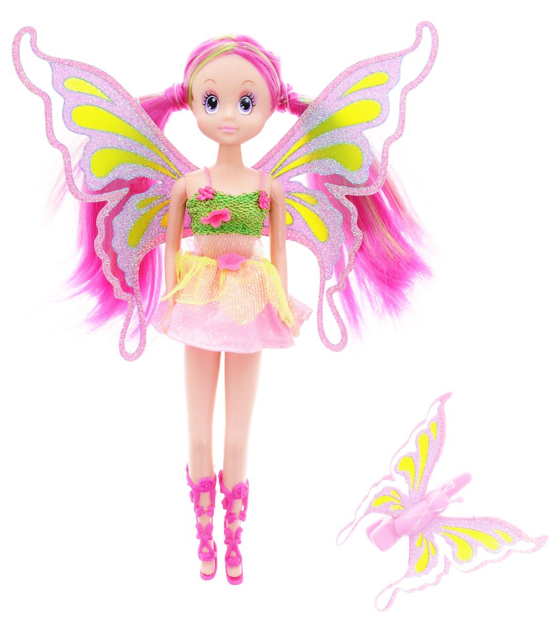 Simba Кукла Фея-бабочка цвет платья розовый салатовый5519064Кукла Фея-бабочка порадует любую девочку и надолго увлечет ее. Фея выглядит просто волшебно! Она одета в короткое пышное платьице розового цвета с салатовым лифом. На ногах у куколки высокие розовые сандалии. Образ феи дополняют прозрачные блестящие крылышки, а розовые с зеленым волосы убраны в два симпатичных хвостика. Вашей дочурке непременно понравится заплетать длинные волосы куклы, придумывая разнообразные прически. В комплекте с куклой имеется подарок для ее маленькой хозяйки - розовая заколка для волос с крылышками, как у настоящей бабочки! Руки, ноги и голова куклы подвижны, благодаря чему ей можно придавать разнообразные позы. Игры с куклой способствуют эмоциональному развитию, помогают формировать воображение и художественный вкус, а также разовьют в вашей малышке чувство ответственности и заботы. Великолепное качество исполнения делают эту куколку чудесным подарком к любому празднику.