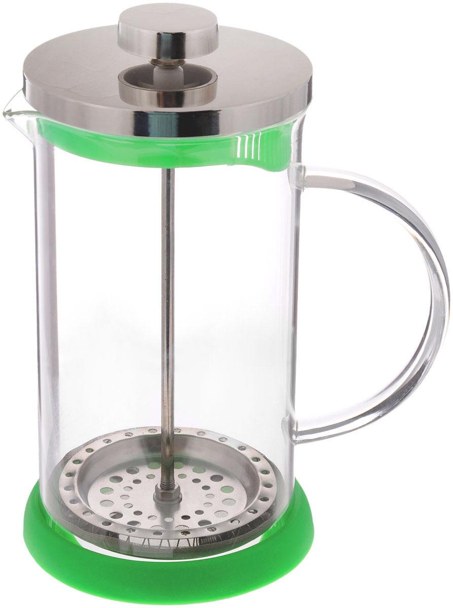 Френч-пресс Apollo Olimpique, цвет: прозрачный, зеленый, 600 млOLM-600Френч-пресс Apollo Olimpique, изготовленный их нержавеющей стали и жаропрочного стекла, прекрасно подойдет для заваривания кофе, чая, травяных настоев и даже какао. Основными достоинствами френч-пресса являются: - возможность регулировать время заваривания, что оказывает влияние на вкус напитка и его крепость, - возможность комбинировать напиток с различными наполнителями (специи, травы). Френч-пресс имеет металлический сетчатый фильтр с загнутыми краями, который обеспечивает высокое качество фильтрации напитка. Ручка из пищевого пластика не нагревается и безопасна в использовании. Яркая подставка из силикона препятствует скольжению чайника. Эстетичный и функциональный френч-пресс Apollo Olimpique будет оригинально смотреться в любом интерьере. Нельзя мыть в посудомоечной машине. Высота френч-пресса (с учетом крышки): 18 см. Высота стенки колбы: 15,5 см.