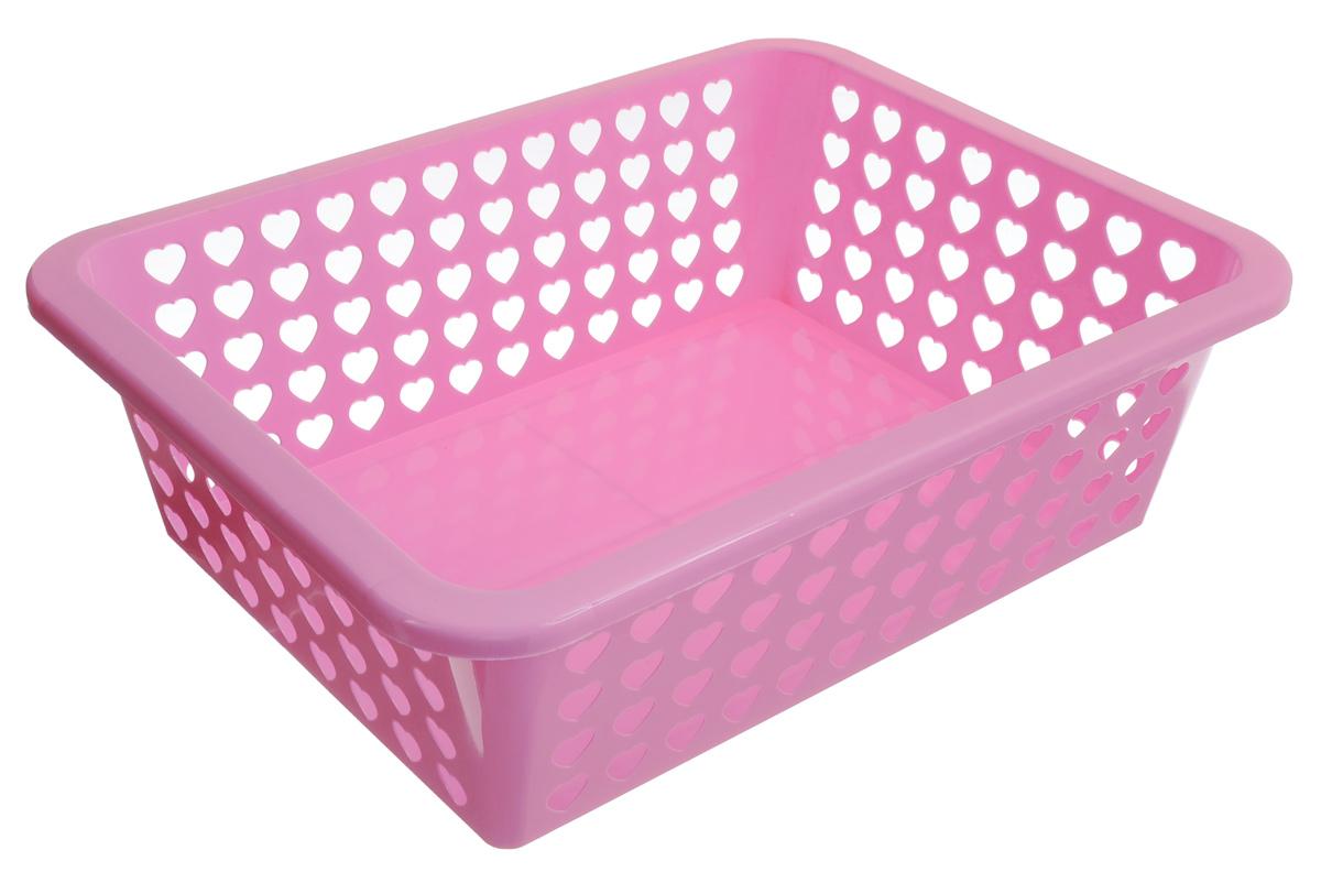 Корзина Альтернатива Вдохновение, цвет: светло-розовый, 39,5 х 29,7 х 12 см587074_светло-розовыйКорзина Альтернатива Вдохновение выполнена из пластика и оформлена перфорацией в виде сердечек. Изделие имеет сплошное дно и жесткую кромку. Корзина предназначена для хранения мелочей в ванной, на кухне, на даче или в гараже. Позволяет хранить мелкие вещи, исключая возможность их потери.
