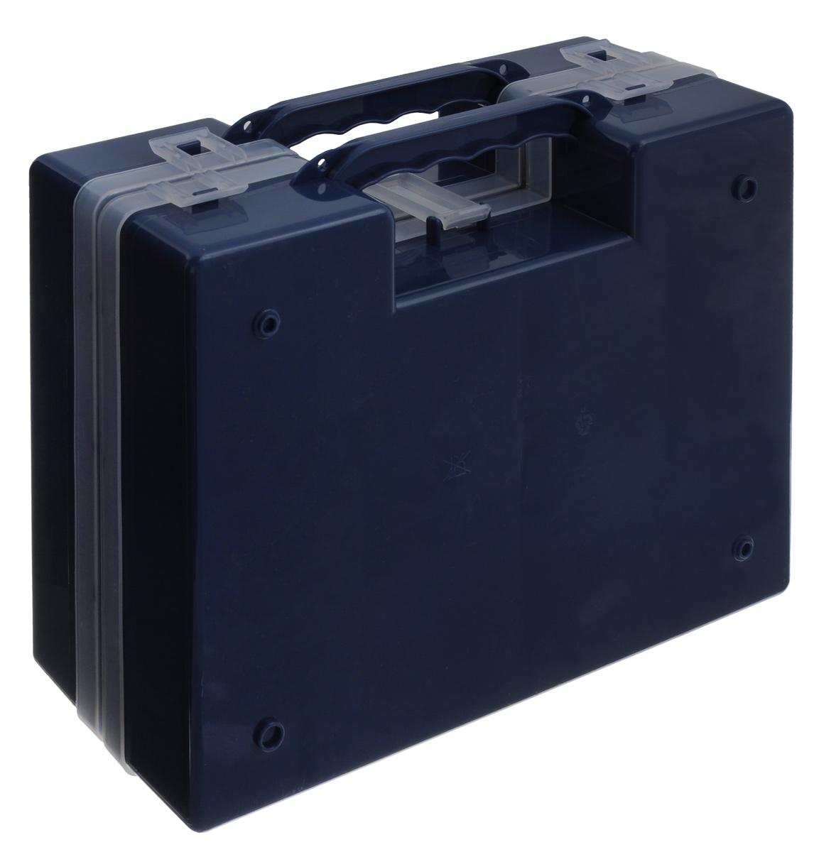 Органайзер Idea, двойной, цвет: синий, 27,2 см х 21,7 см х 10 смМ 2957_синийОрганайзер Idea изготовлен из высококачественного прочного пластика и предназначен для хранения и переноски инструментов. Состоит из 2-х органайзеров, прикрепленных друг к другу. Внутри каждого - 14 прямоугольных секций разной формы. Органайзеры надежно закрываются при помощи пластмассовых защелок. Крышки выполнены из прозрачного пластика, что позволяет видеть содержимое. Благодаря специальным крепежам оба органайзера надежно соединены друг с другом. Размеры секций: 24 секции Размер: 6,6 см х 5,3 см х 4,7 см; 4 секции Размер: 8,1 см х 3,3 см х 4,7 см.
