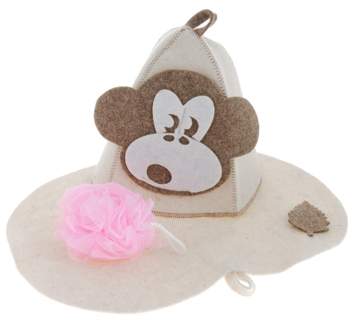 Набор подарочный для бани и сауны Главбаня Обезьянка, цвет: бежевый, розовый, 3 предметаА349_обезьянка сер, мочалка роз.В подарочный набор для бани и сауны Обезьянка входят шапка, мочалка и коврик. Шапка, изготовленная из войлока, декорирована объемной фигуркой обезьяны. Благодаря сетчатой мочалке из нейлона вам обеспечено много пены. Коврик для сидения, выполненный из войлока, имеет форму яблока и декорирован объемной фигуркой листочка. Такой набор поможет с удовольствием и пользой провести время в бане, а также станет чудесным подарком друзьям и знакомым, которые по достоинству его оценят при первом же использовании. Размер коврика: 43 см х 32,5 см. Обхват головы шапки: 66 см. Высота шапки: 23 см. Диаметр мочалки: 13 см.