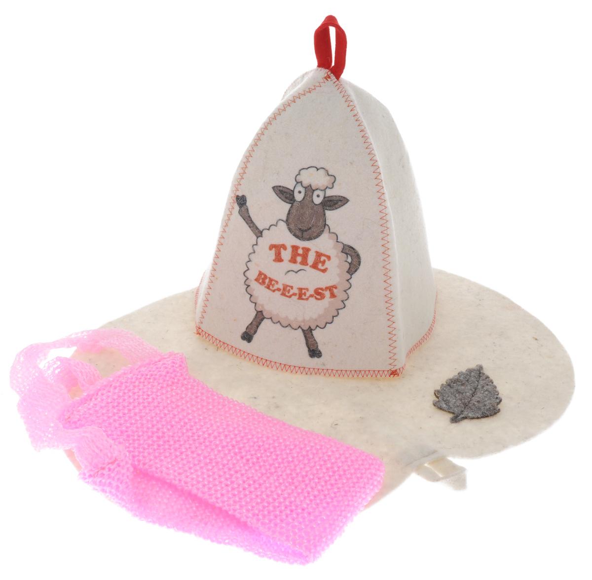 Набор для бани Главбаня The Be-e-e-st, цвет: белый, розовый, 3 предметаБ32313_роз_мочалкаПодарочный набор для бани Главбаня The Be-e-e-st включает все самое необходимое: шапку, овальный коврик и жесткую мочалку. Шапка и коврик выполнены из войлока (шерсть с добавлением полиэфира). Шапка оформлена изображением забавной овечки, коврик украшен аппликацией в виде листика. Мочалка изготовлена из полипропилена. Шапка, коврик и мочалка - это незаменимые аксессуары для любителей попариться в русской бане и для тех, кто предпочитает сухой жар финской бани. Необычный дизайн изделий поможет сделать ваш отдых приятным и разнообразным. Шапка защитит волосы от сухости и ломкости, голову от перегрева и предотвратит появление головокружения, а коврик защитит от высоких температур. Мочалка прекрасно отшелушивает и очищает кожу, а также оказывает антицеллюлитный эффект. На изделиях имеются петельки, с помощью которых их можно повесить на крючок в предбаннике. Такой набор станет отличным подарком для любителей отдыха в бане или сауне. Пластиковая...
