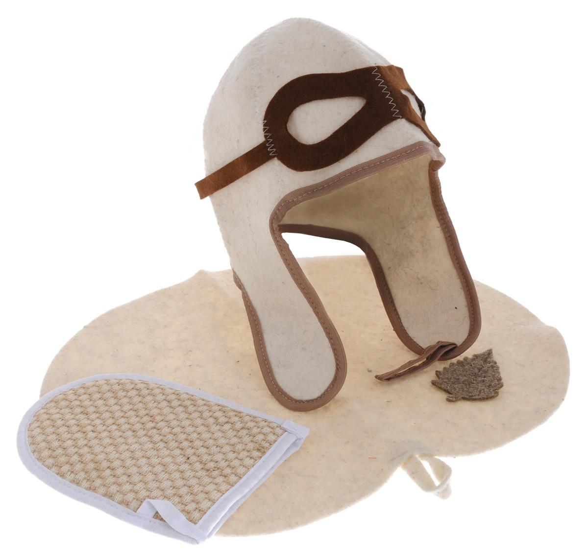 Набор для бани и сауны Главбаня Пилот, цвет: белый, коричневый, 3 предмета. Б32302Б32302_беж_мочалкаНабор для бани и сауны Главбаня Пилот состоит из необходимых аксессуаров, для того чтобы банный поход принес вам только радость. В набор входят: Шапка из войлока, выполненная в виде летного шлема. Это незаменимая вещь в парной. Она необходима для того, чтобы не перегреть голову. Мочалка средней жесткости из крапивы и хлопка. Оказывает нежное массажное и прекрасное отшелушивающее воздействие на кожу. Коврик из войлока, украшенный аппликацией в виде листочка. Он убережет вас от горячей полки и защитит в общественной бане. Размер коврика: 43 см х 31 см. Размер мочалки: 19 см х 15,5 см. Обхват головы: 64 см. Высота шапки: 34 см.